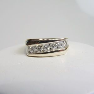 14KT White Gold Diamond Ring Geometric Design